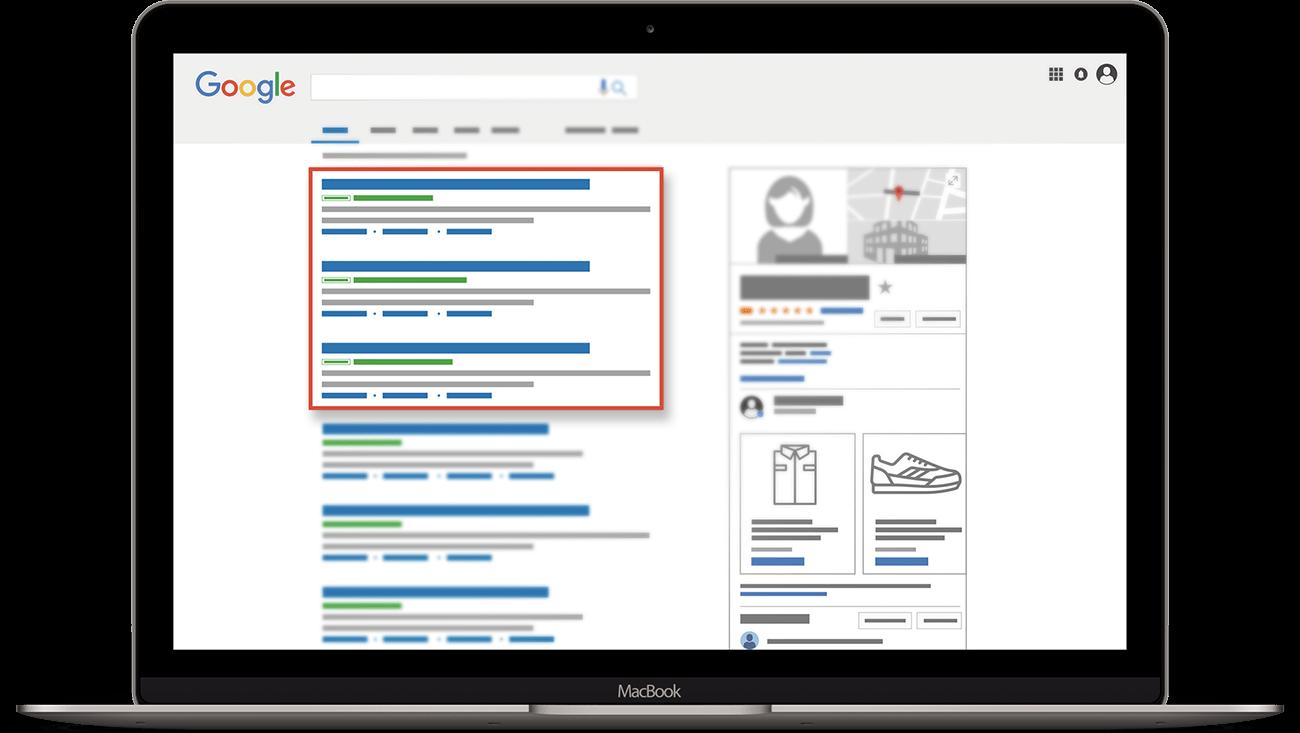 google adwords anzeigen suchergebnisse macbook illustration